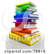 Royalty Free RF Clipart Illustration Of A 3d Rainbow Colored Stack Of Text Books by Tonis Pan