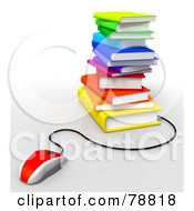 Royalty Free RF Clipart Illustration Of A 3d Red Computer Mouse Connected To A Stack Of Colorful Text Books