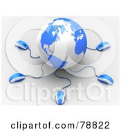 Royalty Free RF Clipart Illustration Of A 3d Blue And White Globe With Many Networked Computer Mice