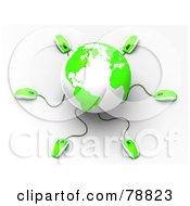 Royalty Free RF Clipart Illustration Of A 3d Green And White Globe With Many Networked Computer Mice