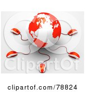 3d Red And White Globe With Many Networked Computer Mice