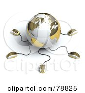 3d Gold And White Globe With Many Networked Computer Mice