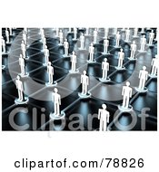 3d Aerial View Of Paper People On Network Lines