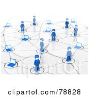 Royalty Free RF Clipart Illustration Of A 3d Social Network Of Blue People And Laptops by Tonis Pan