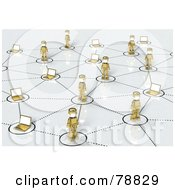 Royalty Free RF Clipart Illustration Of A 3d Social Network Of Gold People And Laptops by Tonis Pan