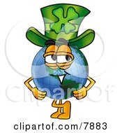 World Earth Globe Mascot Cartoon Character Wearing A Saint Patricks Day Hat With A Clover On It