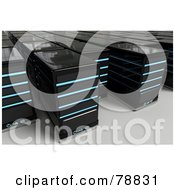 Royalty Free RF Clipart Illustration Of Crowded Rows Of 3d Black Computer Server Towers With Blue Lights by Tonis Pan