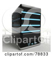 Royalty Free RF Clipart Illustration Of A 3d Single Black Computer Server Tower With Blue Lights by Tonis Pan