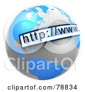 Royalty Free RF Clipart Illustration Of A 3d URL Website Bar Over A Blue And Gray Reflective Grid Globe