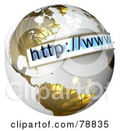 Royalty Free RF Clipart Illustration Of A 3d URL Website Bar Over A Gold And White Reflective Globe