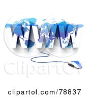 Royalty Free RF Clipart Illustration Of A 3d Blue Computer Mouse Connected To A Blue WWW Atlas by Tonis Pan