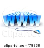 Royalty Free RF Clipart Illustration Of A 3d Blue WWW Connected To A Computer Mouse