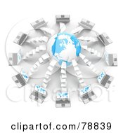 Royalty Free RF Clipart Illustration Of A 3d Blue And White Globe Surrounded By Laptop Computers With Blue Maps On Their Screens