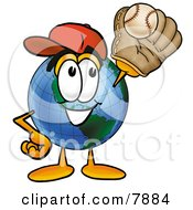 Clipart Picture Of A World Earth Globe Mascot Cartoon Character Catching A Baseball With A Glove