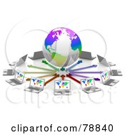 Royalty Free RF Clipart Illustration Of A 3d Colorful Globe Surrounded By Arrows And Laptop Computers With Colorful Maps On Their Screens by Tonis Pan