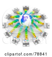 Royalty Free RF Clipart Illustration Of A 3d Colorful Globe Surrounded By Laptop Computers With Colorful Maps On Their Screens by Tonis Pan