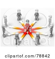 Royalty Free RF Clipart Illustration Of A 3d Minitoy Network Of Gray People With Arrows Facing A Red Person In The Center Of A Circle by Tonis Pan