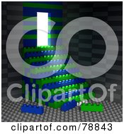 Royalty Free RF Clipart Illustration Of Light Shining Into A Rook Made With Building Blocks And Blue And Green Stacked Stairs