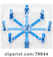 Royalty Free RF Clipart Illustration Of A 3d Minitoy Network Of Blue People With Arrows Facing A Person In The Center Of A Circle by Tonis Pan
