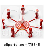 3d Target Circled By Arrows And Red People