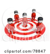 Royalty Free RF Clipart Illustration Of A 3d Red Group Of People Standing On A Target