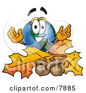 Clipart Picture Of A World Earth Globe Mascot Cartoon Character With Autumn Leaves And Acorns In The Fall