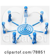 3d Target Circled By Arrows And Blue People