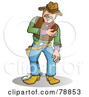 Royalty Free RF Clipart Illustration Of A Bleeding Western Cowboy Man With A Bullet Wound by Snowy