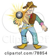 Royalty Free RF Clipart Illustration Of A Western Cowboy Man Shooting His Pistol The Bullet Flying Forward by Snowy