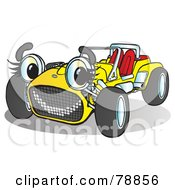 Royalty Free RF Clipart Illustration Of A Yellow Convertible Buggy Sport Car With A Face