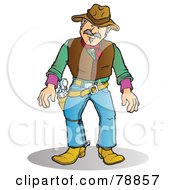 Royalty Free RF Clipart Illustration Of A Western Cowboy Man Ready To Reach For His Pistol