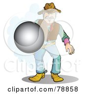 Royalty Free RF Clipart Illustration Of A Western Cowboy Man Firing His Pistol The Bullet Flying Forward by Snowy