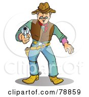 Royalty Free RF Clipart Illustration Of A Western Cowboy Man Prepared To Shoot His Pistol by Snowy