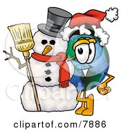 Clipart Picture Of A World Earth Globe Mascot Cartoon Character With A Snowman On Christmas