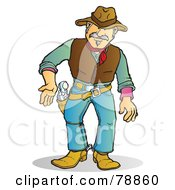 Royalty Free RF Clipart Illustration Of A Western Cowboy Man Prepared To Draw His Pistol by Snowy