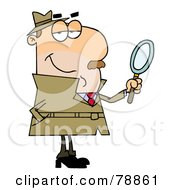 Royalty Free RF Clipart Illustration Of A Caucasian Cartoon Detective Man