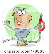 Royalty Free RF Clipart Illustration Of A Hispanic Cartoon Gas Station Attendant Man