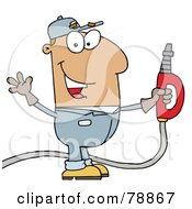 Royalty Free RF Clipart Illustration Of A Hispanic Cartoon Gas Attendant Man