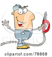 Royalty Free RF Clipart Illustration Of A Caucasian Cartoon Gas Attendant Man by Hit Toon