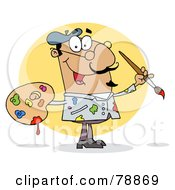 Royalty Free RF Clipart Illustration Of A Sloppy Hispanic Cartoon Artist Painter With A Brush And Palette