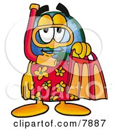 Clipart Picture Of A World Earth Globe Mascot Cartoon Character In Orange And Red Snorkel Gear