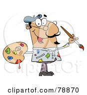 Royalty Free RF Clipart Illustration Of A Messy Hispanic Cartoon Artist Painter With A Brush And Palette by Hit Toon