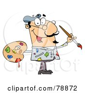 Royalty Free RF Clipart Illustration Of A Messy Caucasian Cartoon Artist Painter With A Brush And Palette by Hit Toon