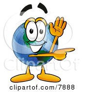 Clipart Picture Of A World Earth Globe Mascot Cartoon Character Waving And Pointing