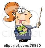Royalty Free RF Clipart Illustration Of A Caucasian Cartoon Teacher Woman by Hit Toon #COLLC78880-0037