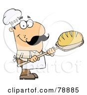 Royalty Free RF Clipart Illustration Of A Caucasian Cartoon Bread Baker Man by Hit Toon
