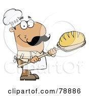 Royalty Free RF Clipart Illustration Of A Hispanic Cartoon Bread Baker Man by Hit Toon