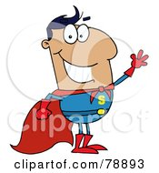 Royalty Free RF Clipart Illustration Of A Hispanic Cartoon Super Hero Waving Man