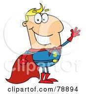 Caucasian Cartoon Super Hero Waving Man by Hit Toon