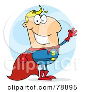 Royalty Free RF Clipart Illustration Of A Blond Cartoon Super Hero Waving Man by Hit Toon